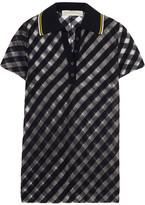 Stella McCartney Striped Tulle Polo Shirt - Midnight blue
