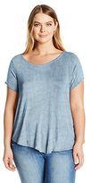 Thyme & Honey Women's Plus Size Crew Neck Short Sleeve Tee with Criss Cross Back