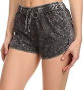Simplicity Juniors Acid Washed Denim Design Cotton Shorts with Drawstring Waist (S, )