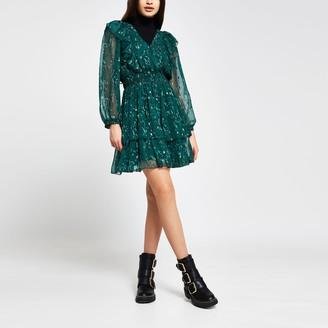 River Island Womens Green floral ruffle long sleeve mini dress