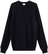 Jigsaw Distorted Rib Cotton Crew Neck Jumper, Navy