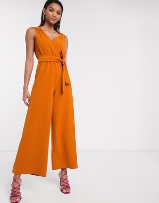 Liquorish soft tailored jumpsuit in orange
