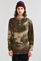 Hanes X US Rags Camo Dye Thermal Henley Long Sleeve Tee