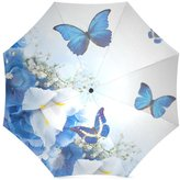 Butterfly Umbrella Thanksgiving Day Gift Blue Butterflies With White Flowers 100% Fabric And Aluminium High-Quality Foldable Umbrella