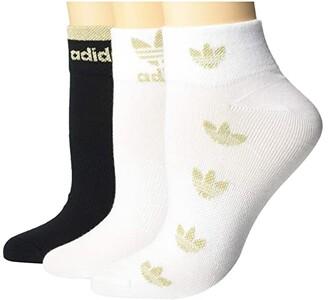 adidas Originals Trefoil Shine Low Cut 3-Pack (White/Gold Shiny Nylon/Black) Women's Crew Cut Socks Shoes