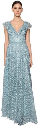 Luisa Beccaria Long Embroidered Chiffon Dress