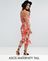 Asos Tall Midi Sundress With Lace Up Back And Peplum Hem In Red Floral