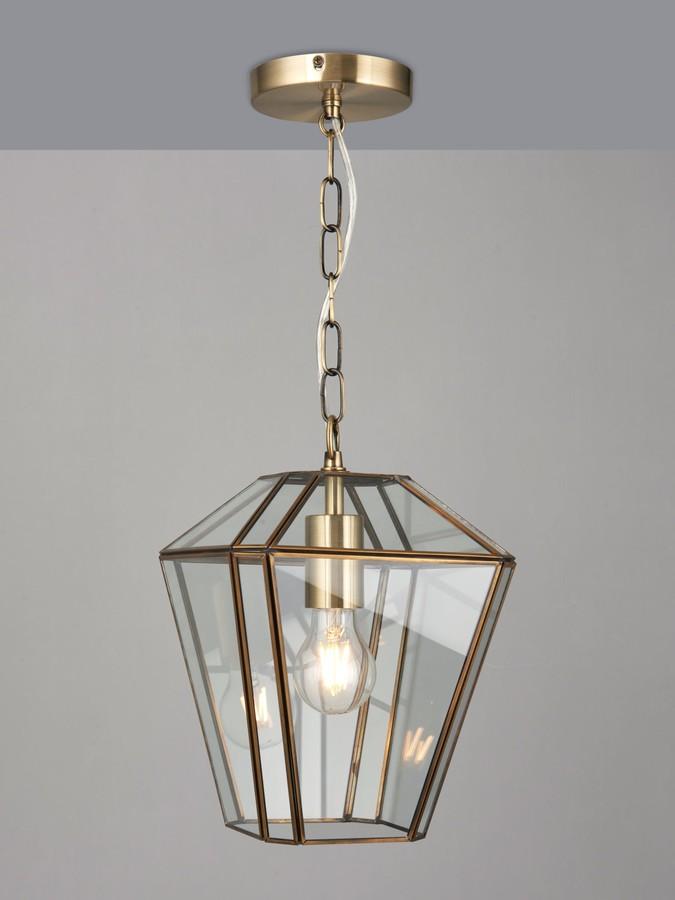 John Lewis & Partners Timeless Glass Lantern Ceiling Light, Clear/Antique Brass