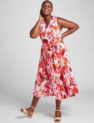 Lane Bryant Floral Pleated Fit & Flare Dress