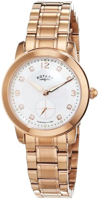 Rotary Women's Quartz Watch with Mother of Pearl Dial Analogue Display and Rose Gold Plated Stainless Steel Bracelet LB02702/41