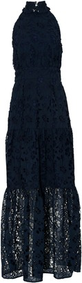 True Decadence Navy Cut Work Organza Halterneck Maxi Dress