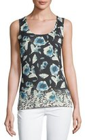 Neiman Marcus Superfine Poppy Silk-Blend Tank