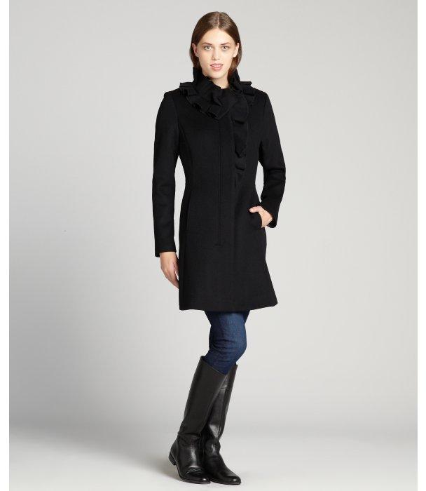 Elie Tahari black wool blended ruffle detailed 'Sara' coat