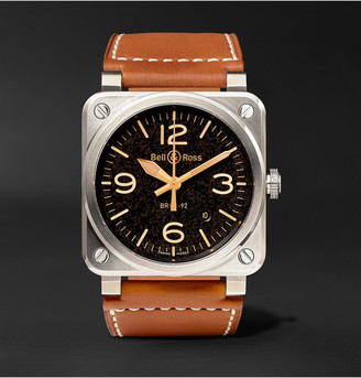 Bell & Ross Br 03-92 Golden Heritage 42mm Steel And Leather Watch, Ref. No. Br0392stg-He/sca