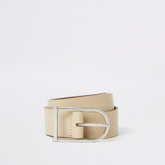 River Island Stone leather horseshoe buckle belt