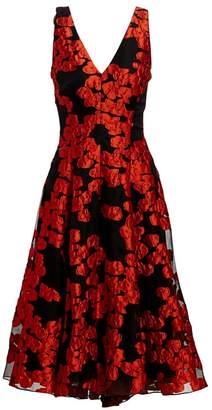 Lela Rose Sleeveless Floral Fil Coupe V-Neck Dress
