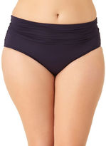 Anne Cole Womens Plus Color Blast Shirred Waist Swim-Bottom