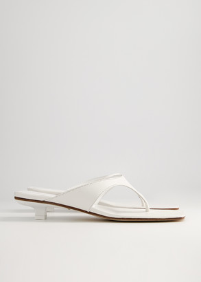 BY FAR Women's Jack Heeled Flip Flop Sandal in White, Size 36 | Leather