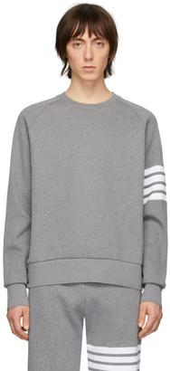 Thom Browne Grey Waffle 4-Bar Sweatshirt