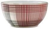 Threshold Fuzzy Plaid 4in Stoneware Dip Bowl Red