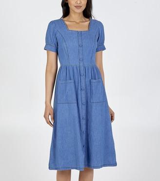 New Look Square Neck Denim Midi Dress