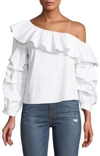 Alice + Olivia Irvine One-Shoulder Long-Sleeve Ruffled Poplin Top