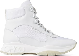 Jimmy Choo INCA/M White Soft Leather and Technical Mesh Trainers