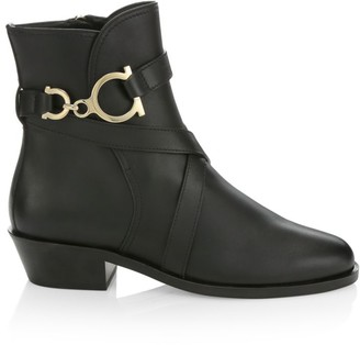 Salvatore Ferragamo Shadi Leather Ankle Boots
