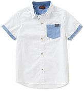 7 For All Mankind Big Boys 8-16 Color Block Short-Sleeve Poplin Shirt
