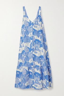 Desmond & Dempsey India Printed Linen Nightdress - Blue