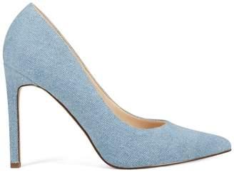 Tatiana Pointy Toe Pumps - Blue Denim Fabric