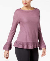 Style&Co. Style & Co Layered Ruffle-Trim Knit Sweater, Created for Macy's