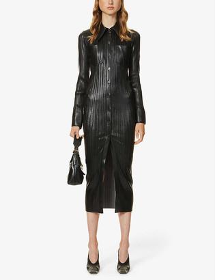 Nanushka Lee pleated faux-leather midi dress