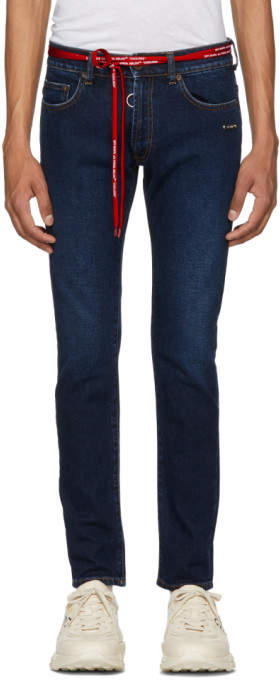 Off-White Blue Skinny Feat Bleach Jeans