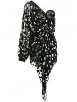 Saint Laurent polka dot draped one-shoulder dress