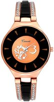 Camerii Women's Round Dial Wrist Watch Water Resistant CZ Stone Studded Strap