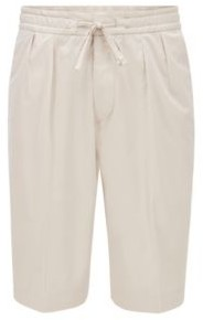 HUGO BOSS Relaxed Fit Shorts In Paper Touch Stretch Cotton - Natural