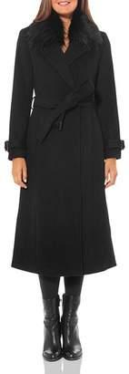 Vince Camuto Faux Fur-Trim Belted Wrap Coat