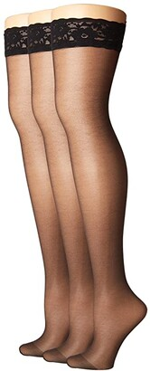 Hue So Sexy French Lace Sheer Thigh Highs (3-Pack) (Black) Sheer Hose