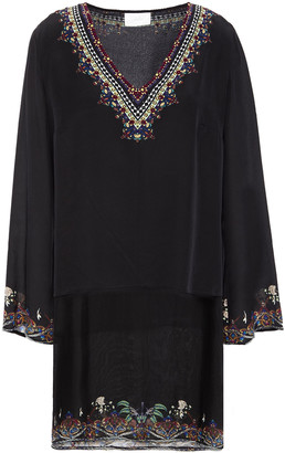Camilla Embellished Printed Silk-chiffon And Crepe De Chine Tunic