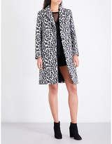 Maje Ladies Print Classic Garouny Leopard-Pattern Wool-Blend Coat
