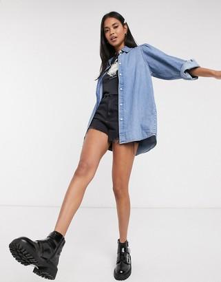 Monki Jennifer organic cotton puff sleeve denim shirt in blue