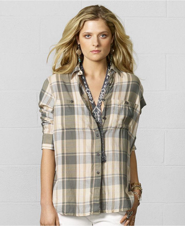 Denim & Supply Ralph Lauren Plaid High-Low Utility Shirt