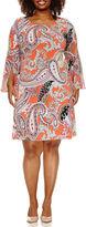 MSK 3/4 Bell Sleeve Sheath Dress-Plus