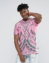 Jaded London Longline T-Shirt With All Over Kaleidascope Print