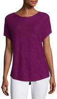 Eileen Fisher Short-Sleeve Boat-Neck Linen/Cotton Box Top