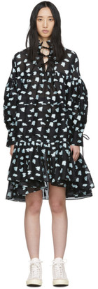 Cecilie Bahnsen Black and Blue Silk Oversized Macy Shirt Dress