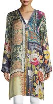 Johnny Was Shiro Printed Button-Front Silk Tunic, Multi
