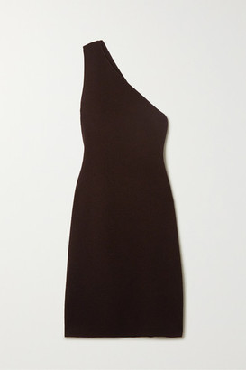 Bottega Veneta One-shoulder Stretch-knit Midi Dress - Brown