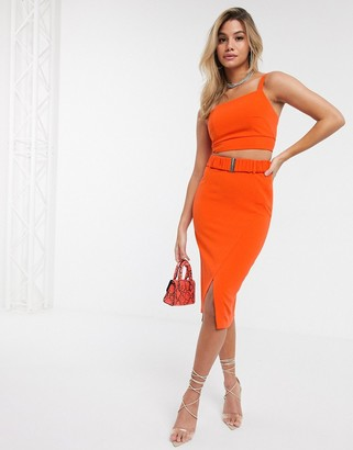 4th + Reckless pencil skirt with belt detail in orange
